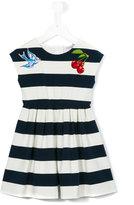 Dolce & Gabbana embroidered striped dress - kids - Cotton/Spandex/Elastane/Viscose - 2 yrs