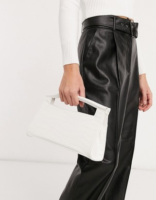 ASOS DESIGN elongated grab clutch in white croc