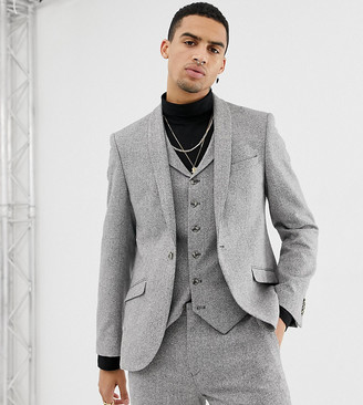 Heart N Dagger slim fit suit jacket in grey herringbone