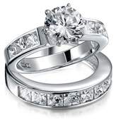 Bling Jewelry 925 Silver 2ct Cz Round Princess Engagement Wedding Ring Set.