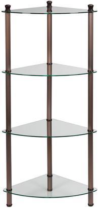 Creative Bath Fluted Bronze And Glass Corner Shelf