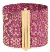 Assya Gold Plated and Fuschia Silk 4cm Weaved Cuff of Length 16.5cm