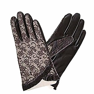 LANTINA Women's Lace GlovesLadies' Wedding Halloween Evening Party Elegant Accessories Decorations Touchscreen Nappa Leather with Lace Unlined Driving Gloves (Black Gray Purple