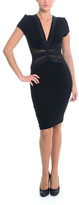 Sentimental NY - Bodycon V-Neck Knee Dress With Mesh Detailing And Elastic Shimmer Waist Trim- Sn1600
