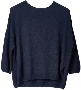 Oyuna Gabi Women's Luxury Dark Blue Rain Cashmere Pullover