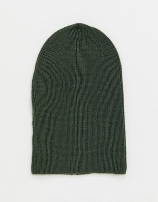 ASOS DESIGN slouchy beanie in olive recycled polyester