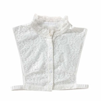 HEFYBA Elegant Lace Fake Collar for Women Button Up Half Shirt Detachable Removable Choker Blouse Top for Girls Ladies