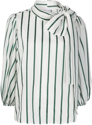 RED Valentino Pussy Bow Striped Blouse