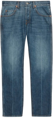 Gucci Marble washed tapered denim trousers
