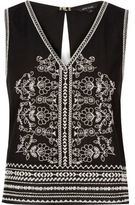 River Island Womens Black embroidered tank top