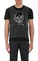 Alexander McQueen Men's Skull-Emrboidered Jersey T-Shirt-BLACK