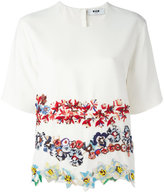 MSGM embroidered flower T-shirt - women - Polyester/Acetate/Viscose - 42