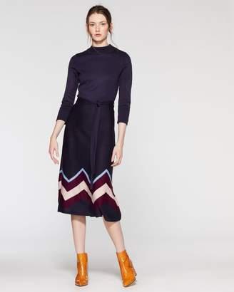 Chevron-border Sweater Dress
