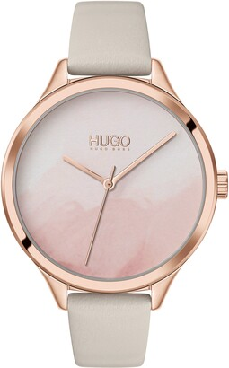 HUGO BOSS Smash Leather Strap Watch, 36mm