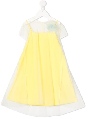 Il Gufo Tulle-Overlay Floral-Applique Dress
