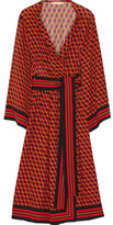 Michael Kors Printed Wrap-Effect Silk Dress