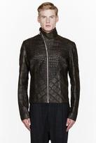 Rick Owens Olive Wild Alligator Leather Hun Jacket