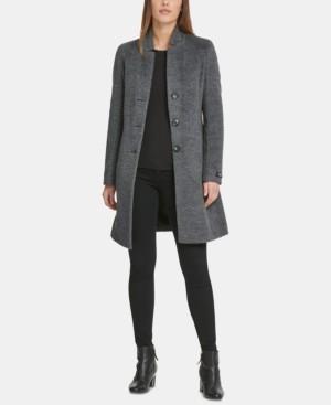 DKNY Single-Breasted Wool-Alpaca Blend Walker Coat