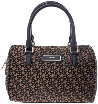 DKNY Brown/Black Monogram Canvas and Leather Boston Bag