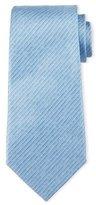 Armani Collezioni Striped Linen-Effect Silk Tie, Light Blue