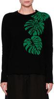 Valentino Cashmere Palm Intarsia Pullover Sweater, Black/Green