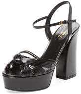 Gucci Knotted Leather Platform Sandal