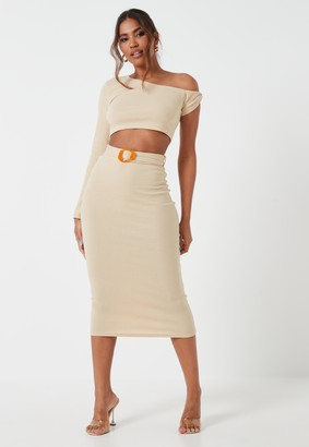 Missguided Beige Co Ord Rib Buckle Midaxi Skirt