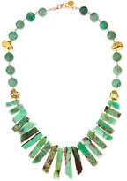 Devon Leigh Long Chrysoprase Spike & Gold-Dipped Nugget Necklace