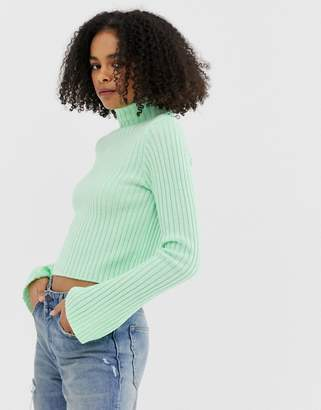 Asos Design DESIGN rib roll neck jumper-Green