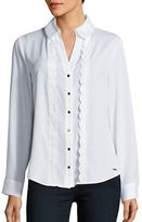 Ivanka Trump Scalloped Button-Front Blouse