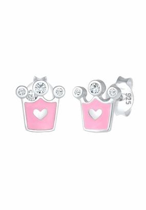 Elli Children's 925 Sterling Silver Crown Heart Earrings