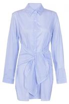 Quiz Blue And White Stripe Tie Front Shirt