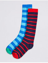 Marks and Spencer 2 Pairs of Striped Welly Socks with FreshfeetTM (2-14 Years)