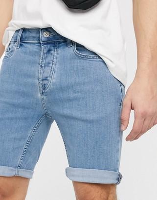 Topman skinny denim shorts in bleached blue
