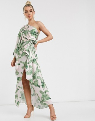 Significant Other caspian tropical leaf one shoulder maxi dress in tropical