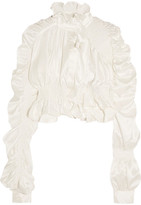 Preen by Thornton Bregazzi Jessie Ruffled Ruched Silk-satin Blouse - Ivory