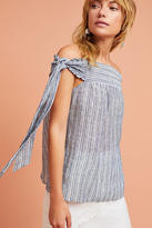 Blue Tassel Yarn-Dyed Off-The-Shoulder Top