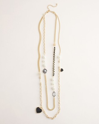 Chico's Faux-Pearl and Goldtone Double-Layer Necklace