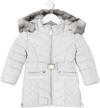 River Island Mini Mini Girls Padded Belted Longline Coat-Grey
