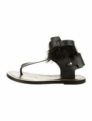 Isabel Marant Leather T-Strap Sandals Black