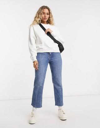 Weekday Huge cropped sweatshirt in white