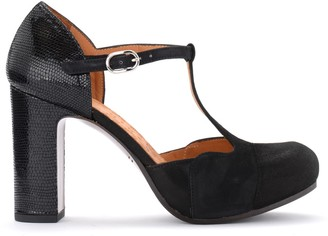 Chie Mihara Darco Heeled Sandal In Black Leather And Suede