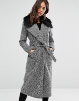 New Look Faux Fur Belted Maxi Coat