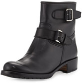 Gravati Two-Strap Leather Moto Boot, Black