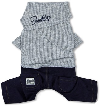 Touchdog Vogue Neck-Wrap Sweater & Denim Outfit - Gray - Small