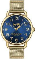Coach Delancey Blue Dial Gold Tone Mesh Bracelet Ladies Watch