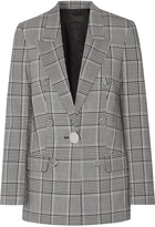 Alexander Wang Leather-trimmed Checked Crepe Blazer - Gray
