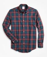 Brooks Brothers Madison Fit Burgundy Plaid Zephyr Sport Shirt