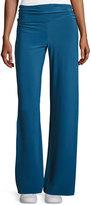 Norma Kamali Straight-Leg Ruched-Waist Pants, Marine