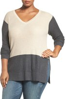Vince Camuto Plus Size Women's Colorblock Waffle Stitch V-Neck Sweater